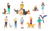 Collection of people with pets isolated on white background. Set of men and women holding their domestic animals. Bundle of male and female flat cartoon characters. Colorful vector illustration.