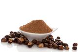 Guarana Powder with guarana seeds.