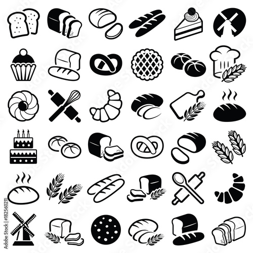 Bakery icon collection - vector outline illustration and silhouette