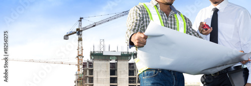 Building site and building design and engineers.