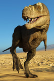 tyrannosaurus rex in the desert walking along - 182562200