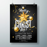 Vector Merry Christmas Party Flyer Illustration with Holiday Typography Elements and Gold Ornamental Ball, Cutout Paper Star on Black Background. Celebration Poster Design. EPS10. - 182566206