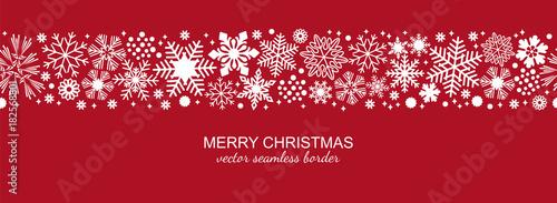 Fototapeta White and red seamless snowflake border, Christmas design for greeting card. Vector illustration, merry xmas snow flake header or banner, wallpaper or backdrop decor