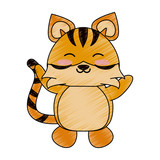 tiger cute animal cartoon icon image vector illustration design