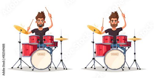 Fototapeta Drummer. Rock music. Cartoon vector illustration.
