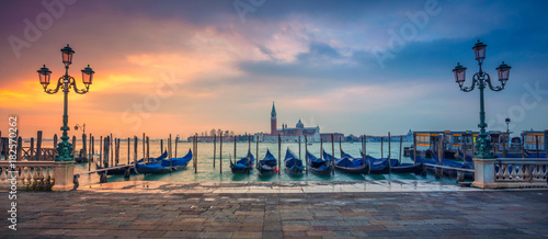 obraz lub plakat Venice Panorama. Panoramic cityscape image of Venice, Italy during sunrise.