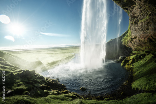 Seljalandfoss waterfall in summer time, Iceland - 182570851