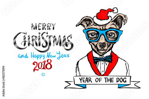red Merry Christmas And Happy New Year 2018. vector illustration. christmas dog as santa