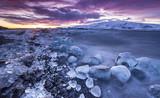 Icebergs in Jokulsarlon glacial lake during sunset, Iceland - 182575884