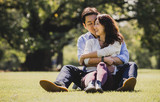 Middle age couple spending time together in Tokyo on a sunny autumn day - 182576211