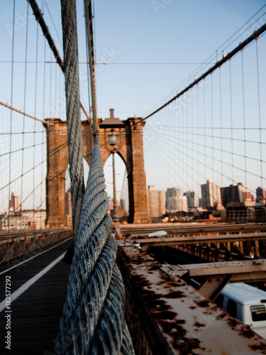 Deurstickers Brooklyn Bridge Brooklyn Bridge Closeup View