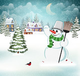 Evening winter landscape - 182578426