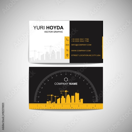 construction business card functional design with ruler and