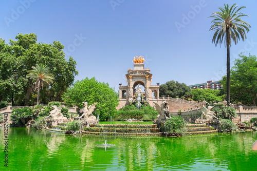 Aluminium Barcelona fountain in Park de la Ciutadella, famous site of Barcelona, Spain