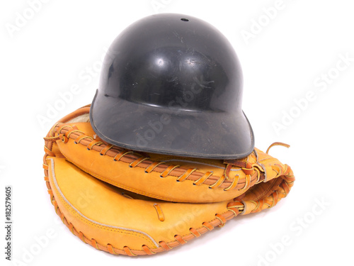 Catchers Mitt and Helmet