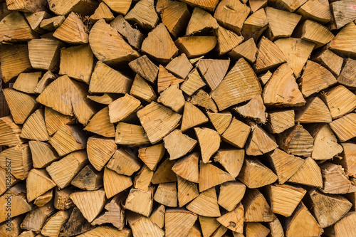 Foto op Canvas Brandhout textuur Brennholz gestapelt