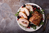 Roasted pork loin stuffed with apple and cranberry