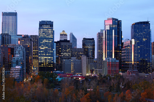 Foto op Canvas Canada Night view of Calgary, Alberta skyline