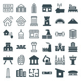 Set of 36 building filled and outline icons - 182593489