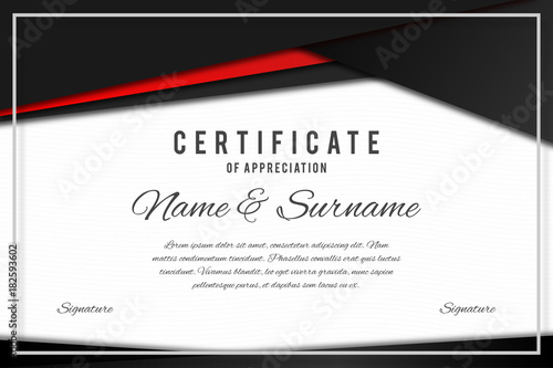 certificate template in elegant black and red colors certificate of