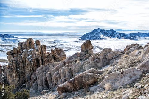 Foto op Canvas Donkergrijs Desert Mountain, Utah