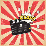 Fototapety Clapperboard with Clap word on vintage striped pop art background. Vector retro cinema illustration.