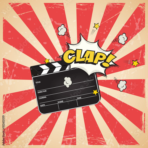 Clapperboard with Clap word on vintage striped pop art background. Vector retro cinema illustration. © backup16