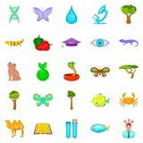 Biology science icons set, cartoon style - 182603052