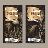 Two labels with Dandelion aka Taraxacum officinale and Barley aka Hordeum vulgare on black. Hot drinks collection.