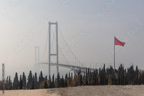 Sticker Osmangazi Bridge Foggy Gebze, Kocaeli, Turkey.