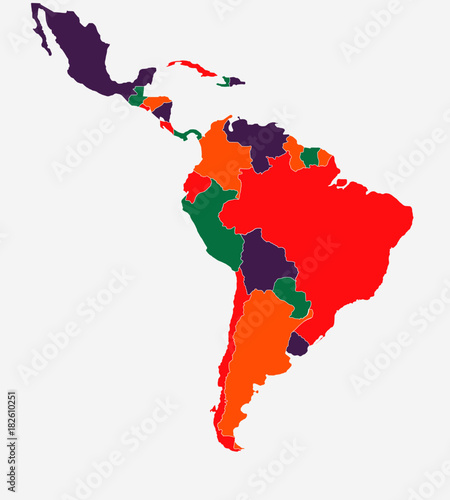 Colourful Latin South America Map High Detailed Isolated Vector