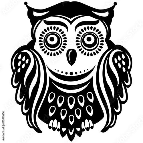 Deurstickers Uilen cartoon Stylized decorated owl