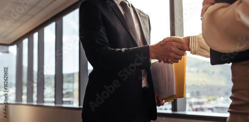 Fototapeta Handshake after a business deal