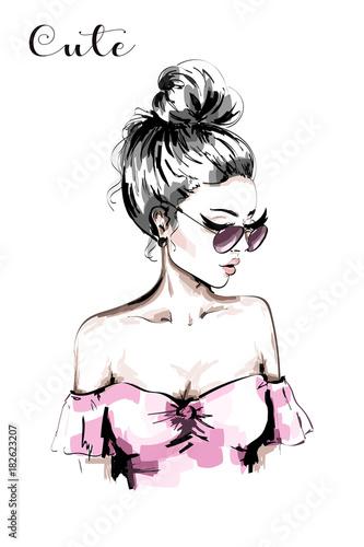 recznie-rysowane-piekna-mloda-kobieta-portret