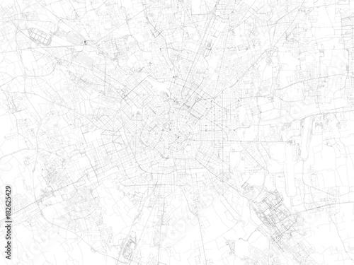 Fototapeta Strade di Milano, mappa della città, Italia, strade