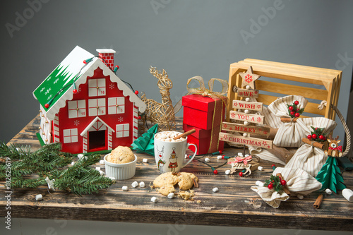 Tuinposter Chocolade Christmas decorated wooden table