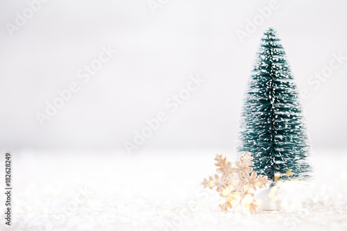 Christmas tree and gray background.