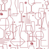 Seamless background with wine glasses and bottles. Design element for tasting, menu, wine list, winery, shop. Line style. Vector illustration. - 182628413