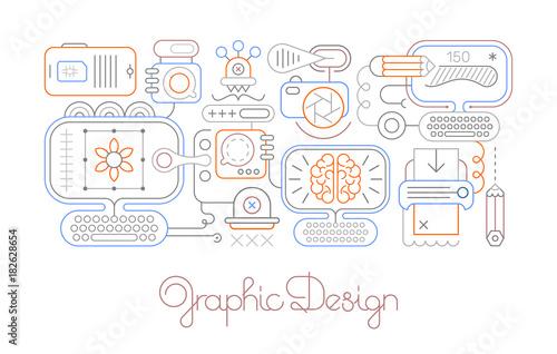 Fotobehang Abstractie Art Graphic Design vector line art