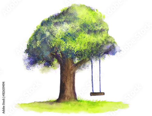 watercolor tree swing on white background © atichat