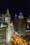Chicago skyline at night during rush hour