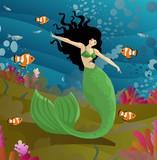 mermaid girl swimming