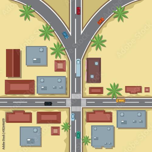 Wall mural Urban top view cartoon icon vector illustration graphic design