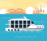 Luxury yacht at sea icon vector illustration graphic design - 182647431