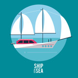 Sailboat at sea icon vector illustration graphic design - 182647446