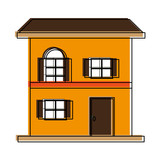 Two floors house icon vector illustration graphic design - 182647802