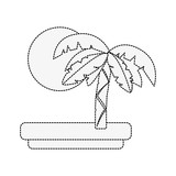 Tree palm and sun icon vector illustration graphic design - 182651420