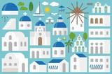 Santorini elements constructor set include church, bell, beach chair, umbrella, seagull, tree, building in flat design for make an Island of Santorini, greece - 182653662