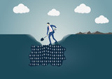 Business man digging a hole in the ground to search for useful information. Concept for data mining and business intelligence - 182654227