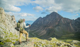 Man hiking in mountains. Landscape. Siberia.